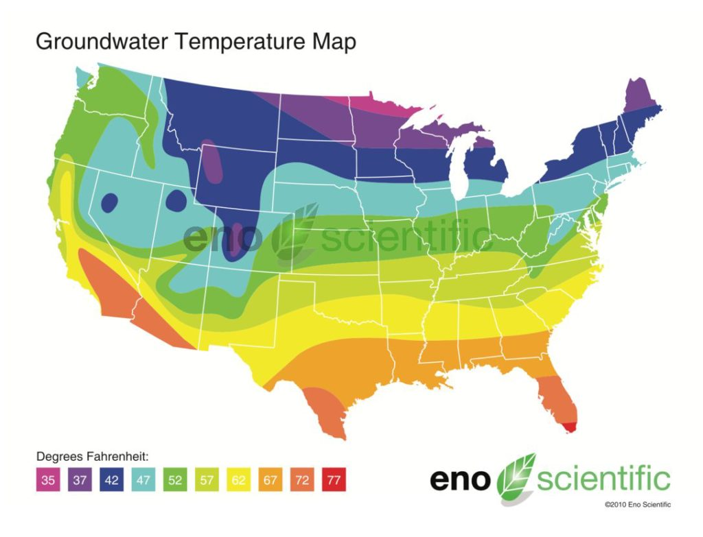 Us Groundwater Temperature Map Groundwater Temperature Map   Eno Scientific